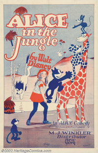 "Alice in the Jungle (M.J. Winkler, 1924). One Sheet (27"" X 41""). Walt Disney arrived in Hollywood in the early..."