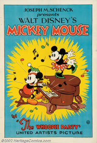 "Whoopee Party (United Artists, 1932). One Sheet (27"" X 41). In the summer of 1932, Disney changed distributors of h..."