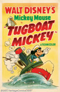 "Movie Posters:Animated, Tugboat Mickey (RKO, 1940). One Sheet (27"" X 41""). Mickey Mousemade his first appearance in a 1928 short titled ""Steamboat ..."