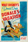 "Movie Posters:Animated, Donald's Vacation (RKO, 1940). One Sheet (27"" X 41""). Walt Disneymade the public's favorite cartoons, and his irascible mer..."