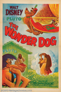 "Wonder Dog (RKO, 1950). One Sheet (27"" X 41"") Charles ""Nick"" Nichols, a former staff animator promot..."