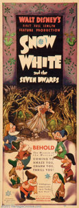 "Movie Posters:Animated, Snow White and the Seven Dwarfs (RKO, 1937). Insert (14"" X 36""). Disney's first foray into feature length animation was a ma..."