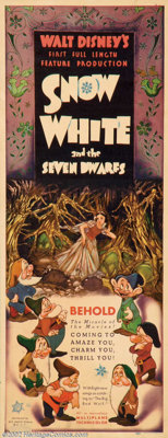 """Snow White and the Seven Dwarfs (RKO, 1937). Insert (14"""" X 36""""). Disney's first foray into feature length anim..."""