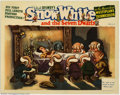 "Movie Posters:Animated, Snow White and the Seven Dwarfs (RKO, 1937). Lobby Card (11"" X14""). Snow White lies upon her death bier awaiting her Prince..."