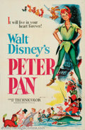 "Movie Posters:Animated, Peter Pan (RKO, 1953). One Sheet (27"" X 41""). Prior to World War 2,Disney had put an animated feature of Peter Pan into dev..."