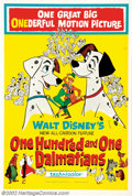 "Movie Posters:Animated, One Hundred and One Dalmatians (Buena Vista, 1961). One Sheet (27""X 41""). Very Fine on Linen. ..."