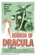 "Movie Posters:Horror, Horror of Dracula (Warner Brothers, 1958). One Sheet (27"" X 41""). Hammer's version of Bram Stoker's ""Dracula"" was much close..."