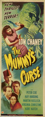 """The Mummy's Curse (Universal, 1945). Insert (14"""" X 36""""). The Mummy Kharis, sips the juice of tana leaves and r..."""