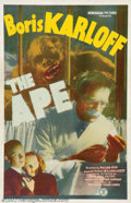 """Movie Posters:Horror, Ape, The (Monogram, 1940). One Sheet (27"""" X 41""""). Karloff is at it again as a scientist terrorizing his neighbors in order t..."""