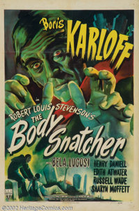 "The Body Snatcher (RKO, 1945). One Sheet (27"" X 41""). This one has it all! Legendary horror producer Val Lewto..."