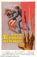 "Movie Posters:Horror, I Was a Teenage Werewolf (AIP, 1957). One Sheet (27"" X 41""). Michael Landon of ""Bonanza"" and ""Little House on the Prairie"" f..."
