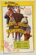 "Movie Posters:Comedy, Abbott and Costello Meet Frankenstein (Realart, R-1956). One Sheet(27"" X 41""). The ghouls were after Bud Lou in this hilari..."