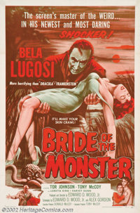 "Bride of the Monster, The (Filmakers Releasing Organization, 1956). One Sheet (27"" X 41""). Ed Wood, the king o..."