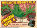 """Movie Posters:Horror, I Walked With a Zombie (RKO, 1943). Half Sheet (22"""" X 28"""") Style B. Val Lewton assigned his most stylistic director, Jacques..."""