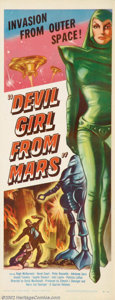"""Movie Posters:Science Fiction, Devil Girl From Mars (Spartan, 1955). Insert (14"""" X 36""""). The British try their hand at the cheap science fiction cinema gam..."""