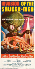 "Movie Posters:Science Fiction, Invasion of the Saucermen (American International, 1957). Three Sheet (41"" X 81""). AIP's graphic artist, Albert Kallis, was ..."