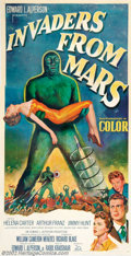 "Movie Posters:Science Fiction, Invaders From Mars (20th Century Fox, 1953). Three Sheet (41"" X 81""). This classic science fiction film is told from the vie..."