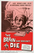 """Movie Posters:Science Fiction, Brain That Wouldn't Die, The (American International, 1962). One Sheet (27"""" X 41"""") This cheaply made gore thriller has gaine..."""