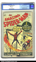 Silver Age (1956-1969):Superhero, The Amazing Spider-Man #1 (Marvel, 1963) CGC FN/VF 7.0 Off-whitepages. 1st app. J. Jonah Jameson and Chameleon; First Fanta...