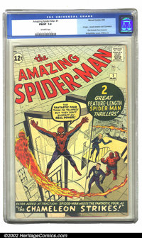 The Amazing Spider-Man #1 (Marvel, 1963) CGC FN/VF 7.0 Off-white pages. 1st app. J. Jonah Jameson and Chameleon; First F...