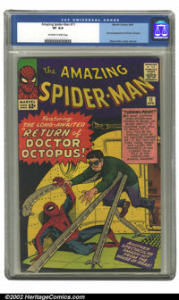 The Amazing Spider-Man #11 (Marvel, 1964) CGC VF 8.0 Off-white to white pages. Second appearance of Doctor Octopus, Stev...