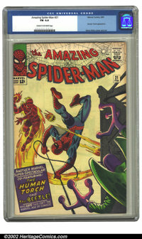 The Amazing Spider-Man #21 (Marvel, 1965) CGC FN 6.0 Cream to off-white pages. Human Torch appearance, Steve Ditko cover...