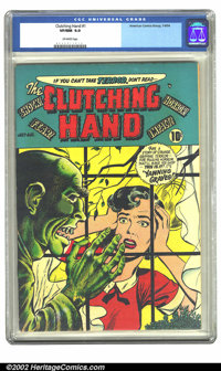 Clutching Hand #1 (ACG, 1954) CGC VF/NM 9.0 Off-white pages. Overstreet 2002 NM 9.4 value = $350