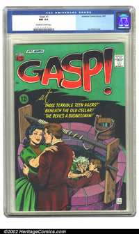 Gasp #1 (ACG, 1967) CGC NM 9.4 Off-white to white pages. Lou Wahl cover. Overstreet 2002 NM 9.4 value = $40
