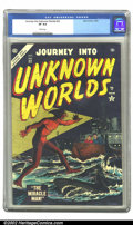 Golden Age (1938-1955):Science Fiction, Journey into Unknown Worlds #32 (Atlas, 1954) CGC VF 8.0 Whitepages. Overstreet 2002 VF 8.0 value = $142. ...