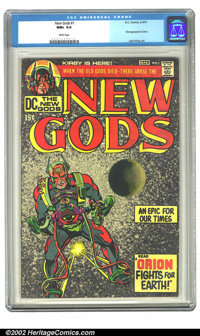 The New Gods #1 (DC, 1971) CGC NM+ 9.6 White pages. First appearance Orion; Jack Kirby art. Overstreet 2002 NM 9.4 value...