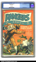 Golden Age (1938-1955):War, Rangers Comics #11 (Fiction House, 1943) CGC VF 8.0 Off-whitepages. Zolnerowich cover. Overstreet 2002 VF 8.0 value = $257....