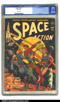 Golden Age (1938-1955):Science Fiction, Space Action #1 (Ace, 1952) CGC FN+ 6.5 Off-white pages. Overstreet2002 FN 6.0 value = $219....