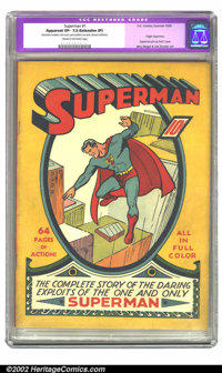 Superman #1 (DC, 1939) CGC Apparent VF- 7.5 Extensive (P) Cream to off-white pages. Restoration includes: color touch, p...