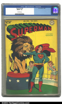 Superman #50 (DC, 1948).CGC FN/VF 7.0 Off-white pages. Overstreet 2002 FN 6.0 value = $240; VF 7.0 value - $500