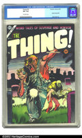 Golden Age (1938-1955):Horror, The Thing! #16 (Charlton, 1954) CGC VF+ 8.5 Off-white pages. Injuryto eye panel. Overstreet 2002 VF 8.0 value = $165....