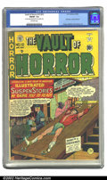 "Golden Age (1938-1955):Horror, Vault of Horror #12 (EC, 1950) CGC FN/VF 7.0 Off-white pages. CGCnotes ""2 center wraps detached from top staple only"". Firs..."