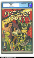 "Golden Age (1938-1955):Horror, Weird Comics #1 (Fox, 1940) CGC VG 4.0 Off-white pages. CGC notes""Centerfold detached from top staple only"". Voodoo Man, Th..."