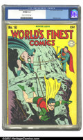 Golden Age (1938-1955):Superhero, World's Finest Comics #16 (DC, 1944) CGC VF/NM 9.0 Cream to off-white pages. Mortimer cover. Overstreet 2002 VF 8.0 value = ...
