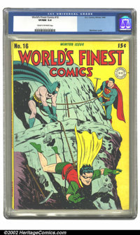 World's Finest Comics #16 (DC, 1944) CGC VF/NM 9.0 Cream to off-white pages. Mortimer cover. Overstreet 2002 VF 8.0 valu...
