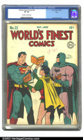 Golden Age (1938-1955):Superhero, World's Finest Comics #22 Ohio pedigree (DC, 1946) CGC VF 8.0 Off-white to white pages. Jack Burnley cover. Overstreet 2002 ...