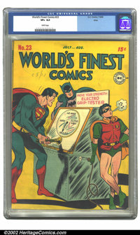World's Finest Comics #23 Ohio pedigree (DC, 1946) CGC VF+ 8.5 White pages. Overstreet 2002 VF 8.0 value = $525