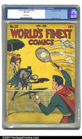 Golden Age (1938-1955):Superhero, World's Finest Comics #25 (DC, 1946) CGC VF+ 8.5 Off-white pages. Jack Burnley cover. Overstreet 2002 VF 8.0 value = $525. ...