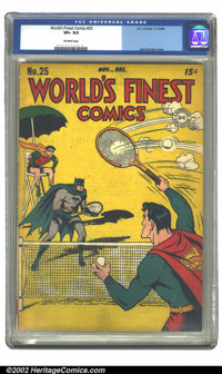 World's Finest Comics #25 (DC, 1946) CGC VF+ 8.5 Off-white pages. Jack Burnley cover. Overstreet 2002 VF 8.0 value = $52...