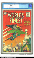 Golden Age (1938-1955):Superhero, World's Finest Comics #79 (DC, 1955) CGC VF 8.0 Off-white to white pages. Overstreet 2002 VF 8.0 value = $263. ...