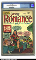 "Golden Age (1938-1955):Romance, Young Romance Comics #2 Rockford pedigree (Prize, 1947) CGC VF 8.0Off-white pages. CGC notes ""Manufactured with piece out m..."