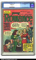 Golden Age (1938-1955):Romance, Young Romance Comics #9 Rockford pedigree (Prize, 1949) CGC VF/NM9.0 Off-white pages. Overstreet 2002 NM 9.4 value = $220....
