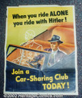 Golden Age (1938-1955):War, World War II propaganda posters lot of 3(1940s). 3 neat posters,one featuring Hitler. There is overall wear on all, with so...