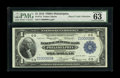 Fr. 714 $1 1918 Federal Reserve Bank Note PMG Choice Uncirculated 63. This Philadelphia FRBN Ace has the neat solid seri...