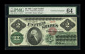 Large Size:Legal Tender Notes, Fr. 41 $2 1862 Legal Tender Courtesy Autograph PMG ChoiceUncirculated 64. John Burke, who was Treasurer from 1913 until192...