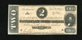 Confederate Notes:1864 Issues, T70 $2 1864. This is an orange-tinted $2. It has a small foxing spot along the top edge. Crisp Uncirculated....